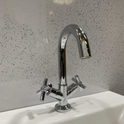 White sparkle bathroom wall cladding