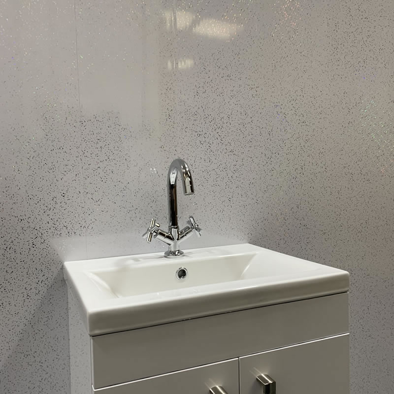 white sparkle shower wall cladding
